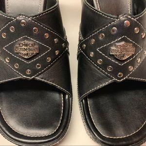 Harley Davidson Black Slip On Wedges Size 8.5